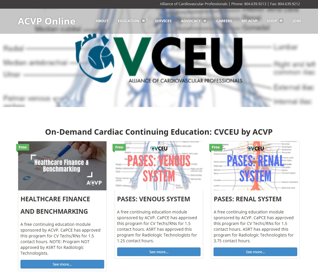 On-demand Cardiology CE: CVCEU by ACVP