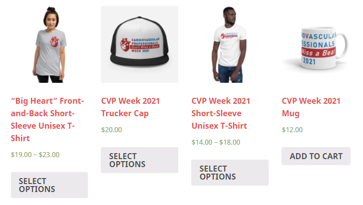 Our online CVP Week 2021 shop with t-shirts, hats, mugs and more official merchandise with the CVP Week 2021 logo.