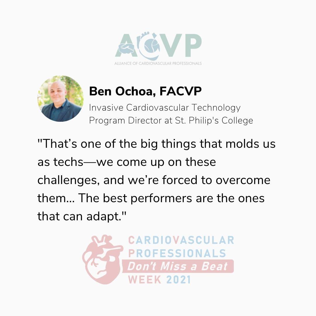 Cath lab tech education during COVID-19: Ben Ochoa, FACVP pull quotation.